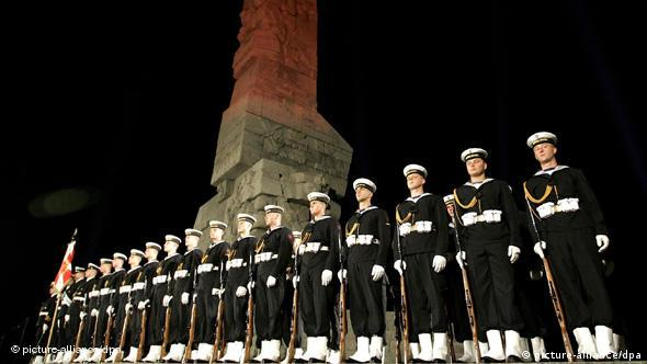 Navy officers during ceremonies marking the 70th anniversary of the outbreak of World War II in Westerplatte, Gdansk, Poland, 1 Sept 2009