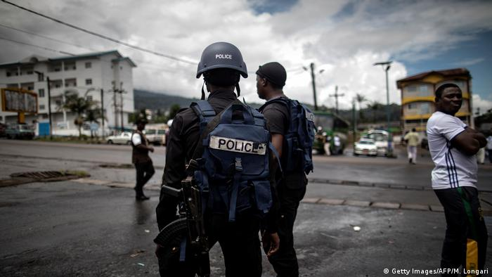 Cameroonian police officers on patrol in the majority English-speaking Southwest province in Buea