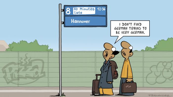 Cartoon by Miguel Fernandez features men at train stop with a sign saying train is delayed 40 minutes