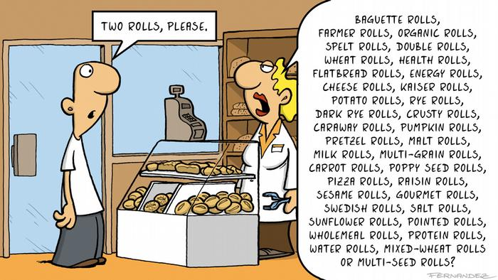 Cartoon of a man being served at a bakery