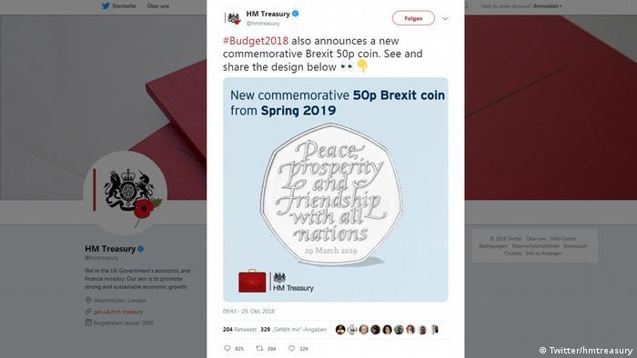 Twitter Screenshot - hmtreasury zu geplanter Brexit Münze (Twitter/hmtreasury)