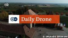 Luftaufnahme des Ortes Deutsches Weintor mit DailyDrone - Logo.