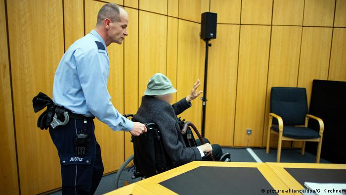 The 94-year-old was brought into court in a wheelchair