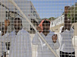 Immigrants held at Lampedusa