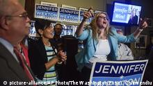 12.06.2018 Virginia state Senator Jennifer Wexton takes the podium after winning the Democratic nomination for Virginia's 10th Congressional District, as she addresses her supporters in Sterling, Va., Tuesday, June 12, 2018. She will face two-term incumbent Rep. Barbara Comstock. (Jahi Chikwendiu/The Washington Post via AP) |