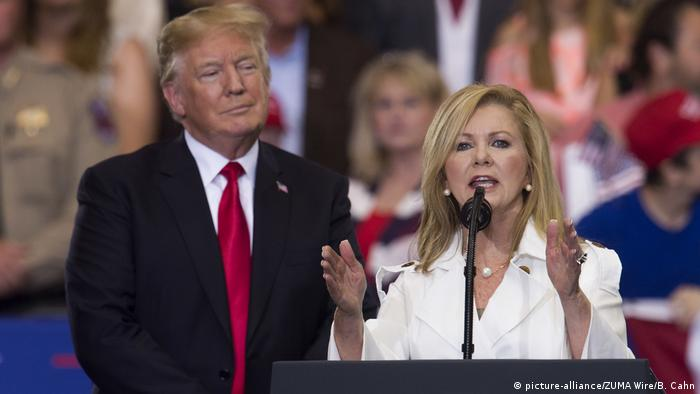Donald Trump and Marsha Blackburn on the campaign trail