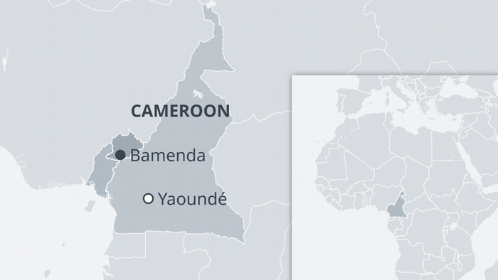 A map of Cameroon showing the English-speaking North West and South West regions