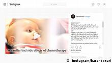 Sanktionen gegen Iran Bildbeschreibung: Screenshot über Sanktionen gegen Iran in Social Media. Stichwörter: Iran, Sanktionen lizenzfrei: instagram/barankosari
