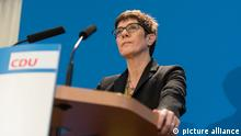 Annegret Kramp-Karrenbauer speaks at the press conference in Berlin - 07 Nov 2018