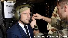 Präsident Emmanuel Macron bei einer Militäreinsatz