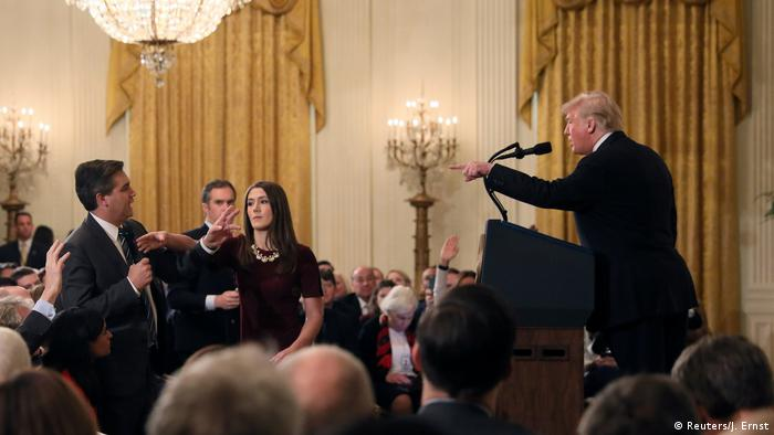 CNN journalist Jim Acosta and US President Donald Trump during their confrontation (Reuters/J. Ernst)