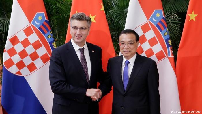 China Peking Premier Li mit Kroatien Präsident Plenkovic (Getty Images/J. Lee)