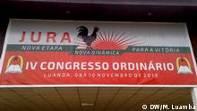 Banner des IV JURA-Kongresses, UNITA Jugend, aus Angola