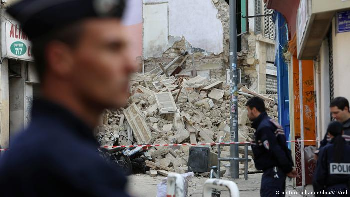 Police cordon off area near collapsed buildings in Marseille