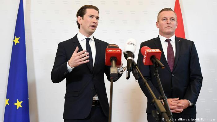 Austrian Chancellor Sebastian Kurz stands alongside Defense Minister Mario Kunasek at a press conference