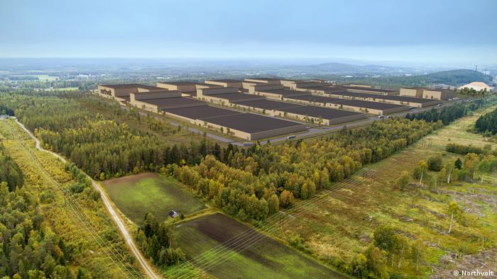 Picture of a design proposal of Northvolt's battery factory