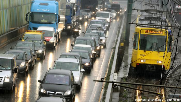 Traffic in the German city of Essen, North Rhine Westphalia