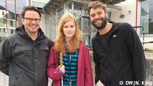 WorldLink - Neil King and Gabriel Borrud with blind teenager Sophia