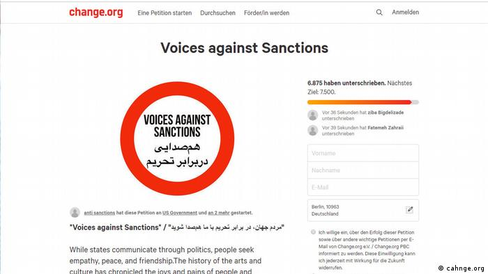 Screenshot Voices against sanctions