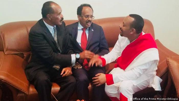 Äthiopien President Somalia Mohammed Abdulahi, Eritreas Präsident Isayas Afeworki, Äthiopiens Premierminister Abiy Ahmed