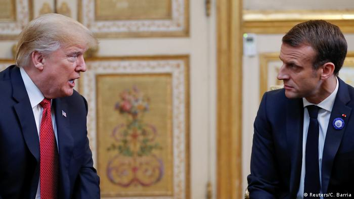 U.S. President Donald Trump meets with French President Emmanuel Macron at Elysee presidential palace