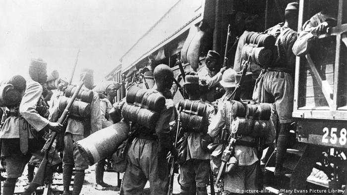 A British colonial battalion boarding a train for Cameroon, west central Africa, during the First World War