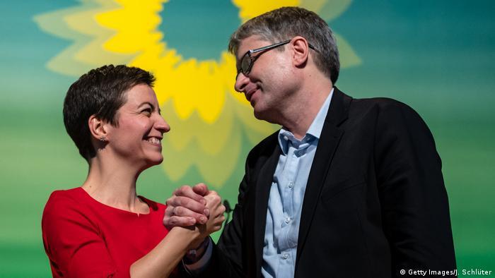 Ska Keller und Sven Giegold auf dem Grünen-Parteitag in Leipzig