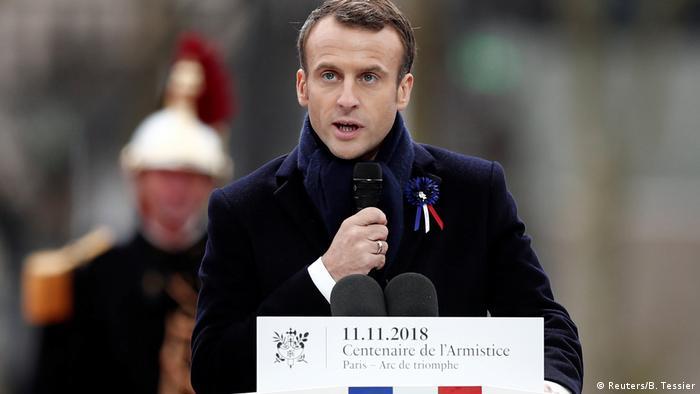 Presidente da França, Emmanuel Macron, durante discurso no Arco do Triunfo