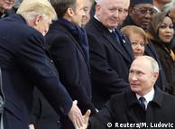 Дональд Трамп и Владимир Путин во время торжеств возле Триумфальной арки в Париже, 11 ноября 2018 года.