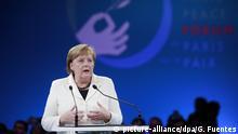 11.11.2018, Frankreich, Paris: Bundeskanzlerin Angela Merkel (CDU) spricht bei der Eröffnung beim Friedensforum. Anlässlich des Endes des Ersten Weltkriegs vor einhundert Jahren sind rund 60 Staats- und Regierungschefs in Paris. Foto: Gonzalo Fuentes/POOL Reuters/AP/dpa +++ dpa-Bildfunk +++  