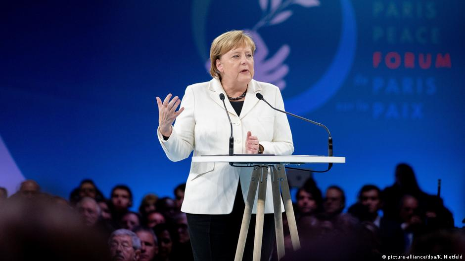 Germany's Angela Merkel pleads for world peace at Paris forum