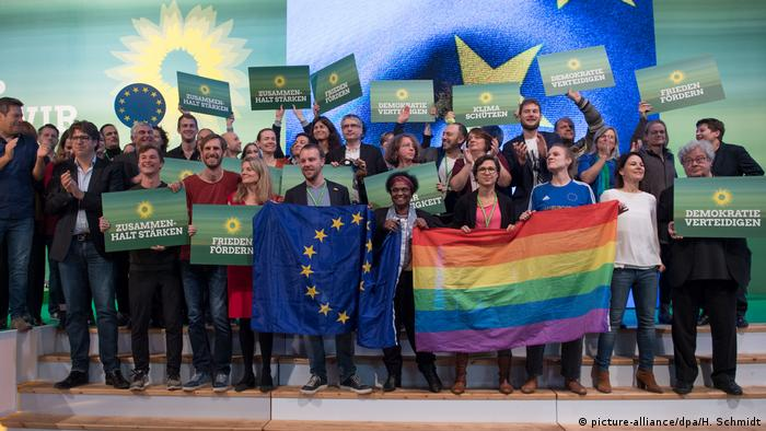 Green Party candidates for the European Parliament elections in 2018 with LGBT+ flag