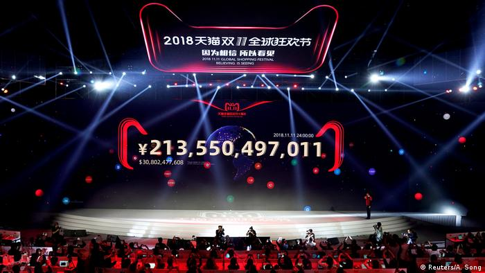 A screen showing Alibaba group's Singles Day sales