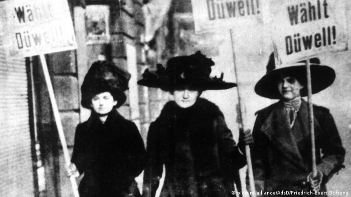 Women's suffrage campaigners advocating for their candidate in January 1919, ahead the first election in which German women could vote