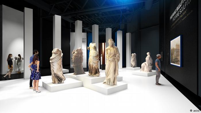 Groß-Skulpturen des Pergamonaltars in der Ausstellung Pergamonmuseum. Das Panorama (asisi)
