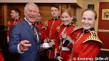 Britain's Prince Charles visits members of the Welsh Guards band at the Guards' Chapel, Wellington Barracks, London, Britain, November 11, 2018. John Stillwell/Pool via REUTERS