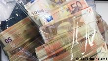 Bags of cash seized by German authorities investigating a money laundering network (Zollkriminalamt)