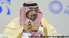 Khalid Al-Falih, Saudi Energy and Oil Minister, talks during the opening ceremony of the Abu Dhabi International Exhibition & Conference, ADIPEC, in Abu Dhabi, United Arab Emirates, Monday, Nov.12, 2018. OPEC and allied oil-producing countries likely need to cut crude supplies to rebalance the market after proposed U.S. sanctions on Iran failed to cut Tehran's ouput, top Saudi and Emirati energy officials said Monday. (AP Photo/Kamran Jebreili) |