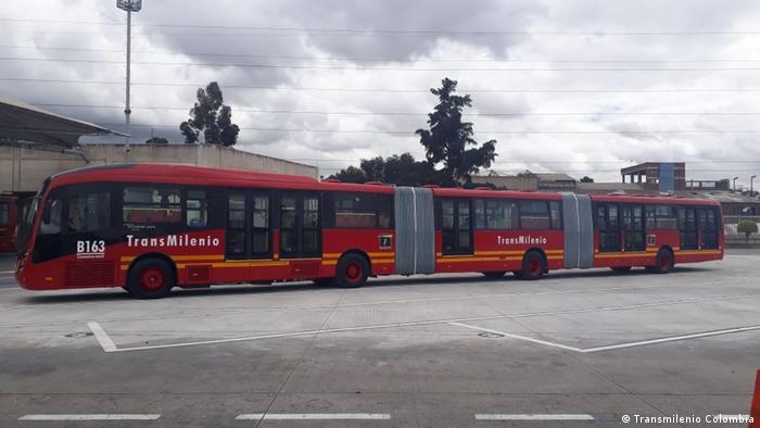 Extra-long bus in Bogota (Transmilenio Colombia)
