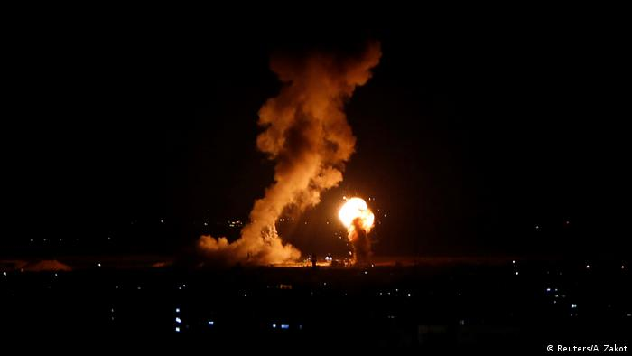 Smoke and flames during an Israeli air strike in Gaza (Reuters/A. Zakot)