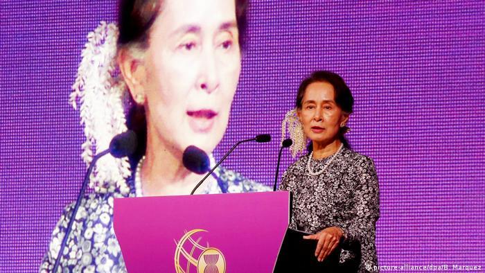 Aung San Suu Kyi Regierungschefin von Myanmar (picture-alliance/dpa/B. Marquez)