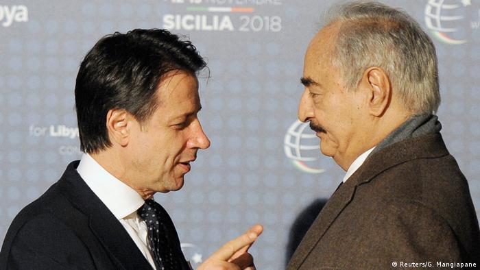 Giuseppe Conte and Khalifa Haftar
