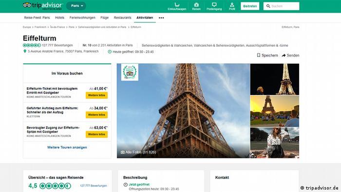 Screenshot of TripAdvisor