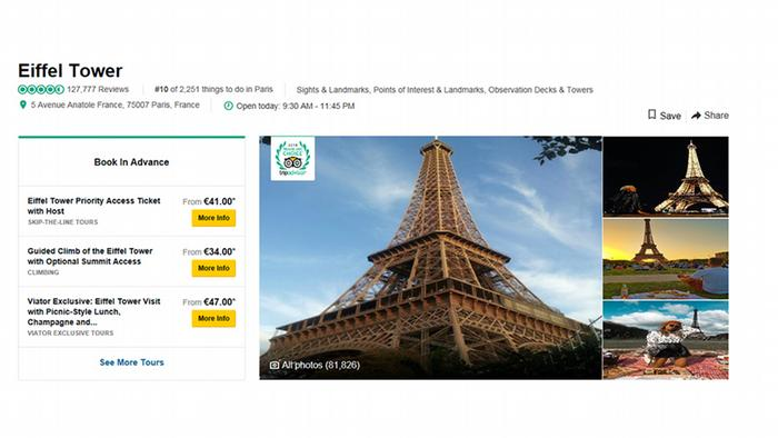 Screenshot of the Eiffel Tower and the number of user reviews on the TripAdvisor website