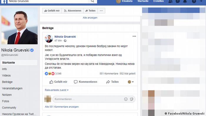 Mazedonien Screenshot der Facebook Seite des mazedonischen Ex-Premierminister Nikola Gruevski