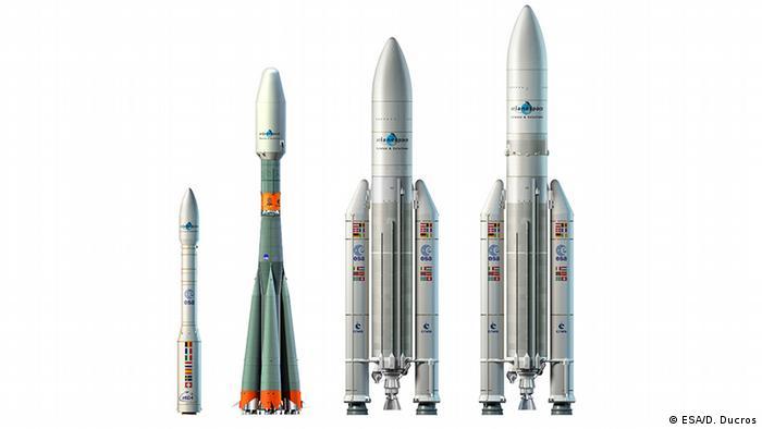 Europe's fleet of rockets (L-R): Vega, Soyuz, Ariane 5 GS, Ariane 5 ECA