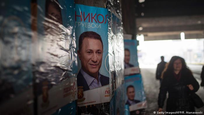 Mazedoenien, Skopje: Wahlplakat von Nicola Gruevski