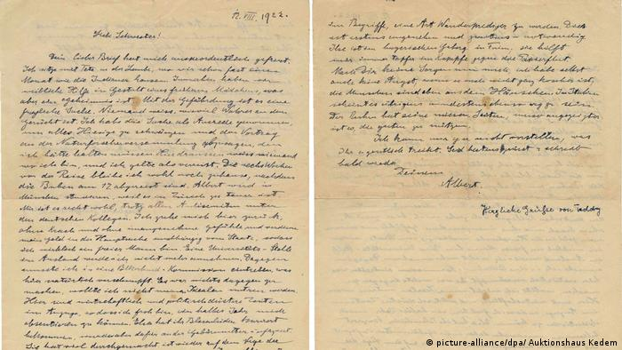 Albert Einstein's 1922 letter to his sister about anti-Semitism in Germany (picture-alliance/dpa/ Auktionshaus Kedem)