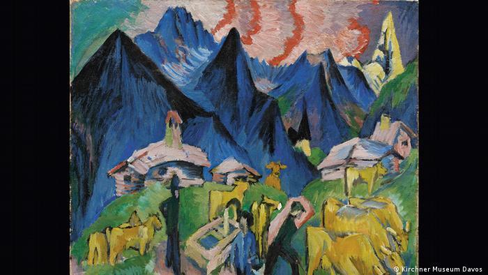 Alpleben. Das Bild zeigt Bauern mit Vieh vor einem Bergpanorama (Kirchner Museum Davos )