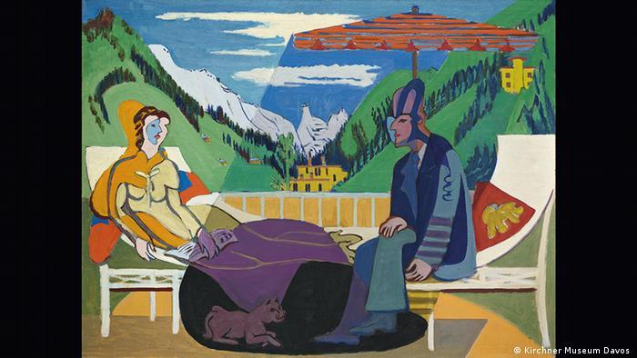 Balkonszene vor Bergpanorama (Kirchner Museum Davos )